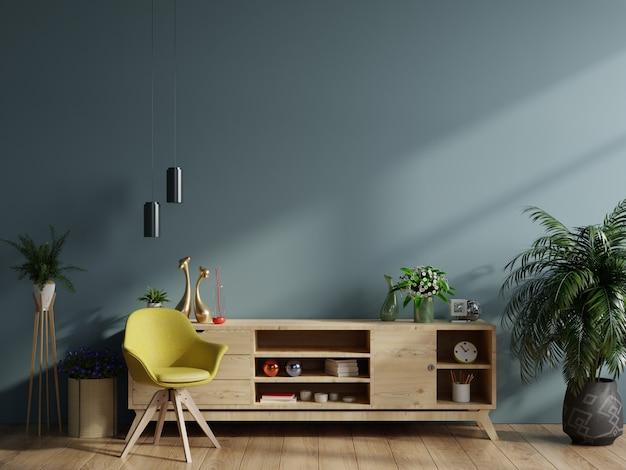 Makieta gabinetu w nowoczesnym pustym pokoju, ciemna ściana.
