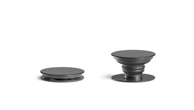 Makieta gniazda pop pusty czarny telefon, na białym tle, widok z przodu