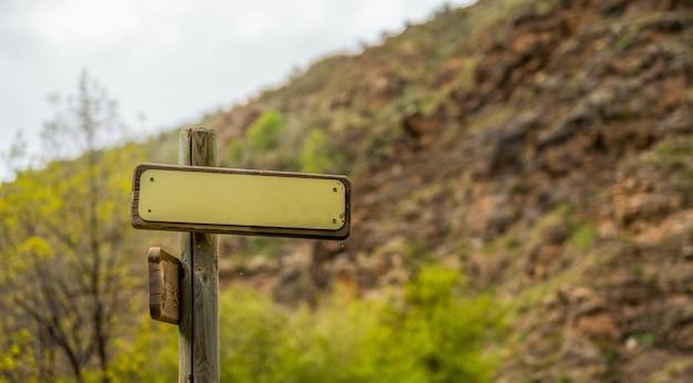 Makieta górskich znaków kierunkowych z wiszącymi pajęczynami i drzewami w tle