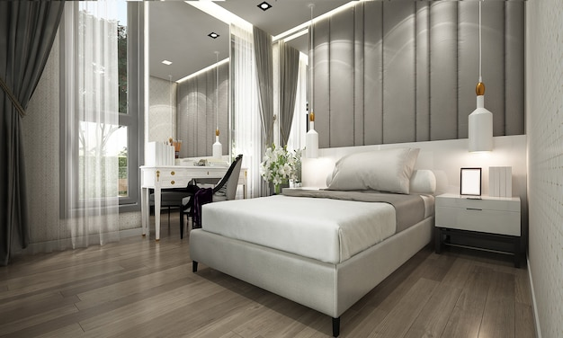 Makieta i dekoracja oraz luksusowa sypialnia i tło ścienne