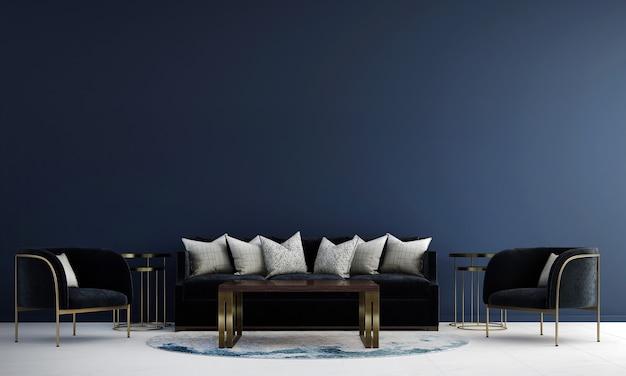 Makieta i dekoracja oraz luksusowy salon i niebieskie tło ścienne