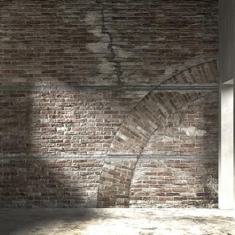 Makieta i dekoracja oraz pusty salon i tło ceglanego muru