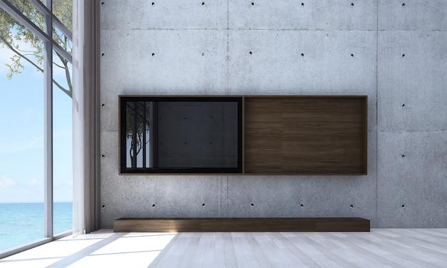 Makieta i dekoracja oraz pusty salon i tło ściany telewizora