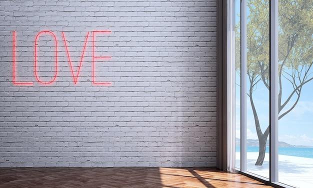 Makieta i dekoracja oraz salon i biała ściana z cegły w tle