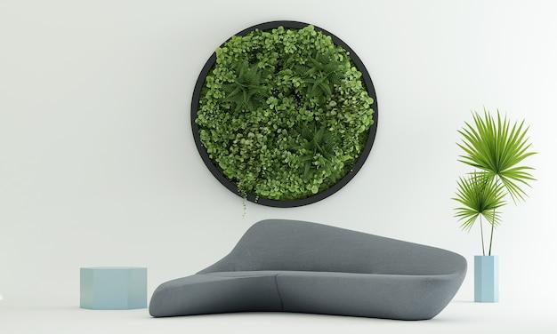 Makieta i dekoracja oraz salon i zielona ściana w tle