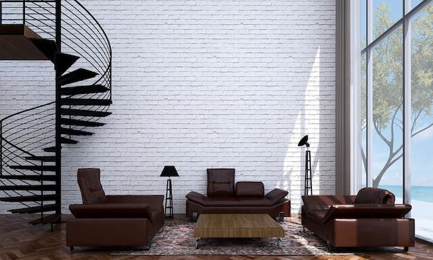 Makieta i dekoracja oraz salon na poddaszu i pusty ceglany mur w tle