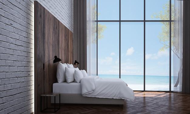 Makieta i dekoracja oraz tło sypialnia i widok na morze