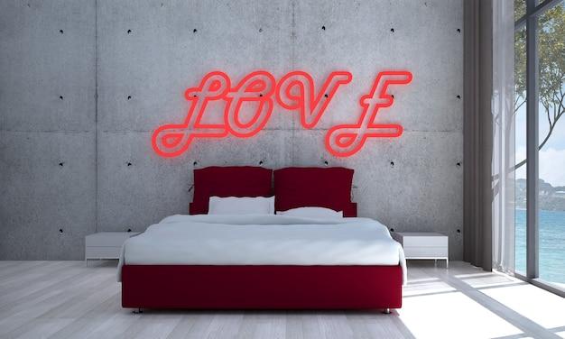 Makieta i dekoracja, sypialnia i betonowa ściana tło i znak miłości