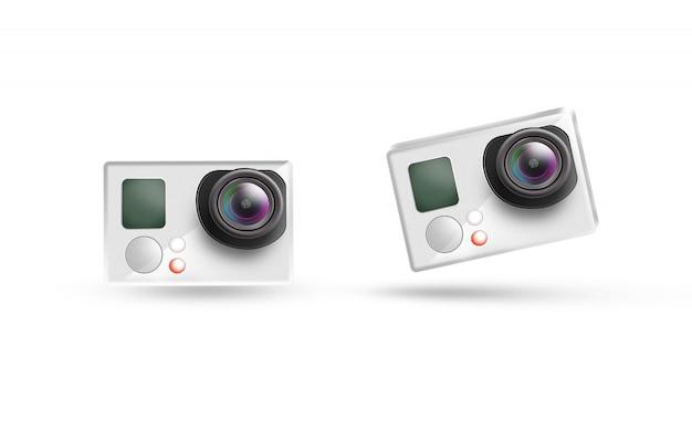 Makieta ikona działania kamery, na białym tle.