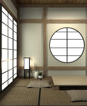 Makieta japońskiego pokoju z matą tatami i dekoracją w stylu japońskim została zaprojektowana w stylu japońskim.