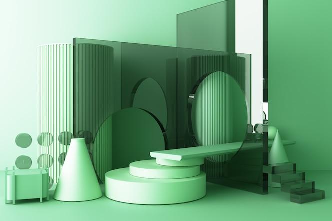 Makieta kompozycji tekstury szkła o geometrycznym kształcie z podium w kolorze zielonym do projektowania produktu, renderowania 3d, ilustracji 3d