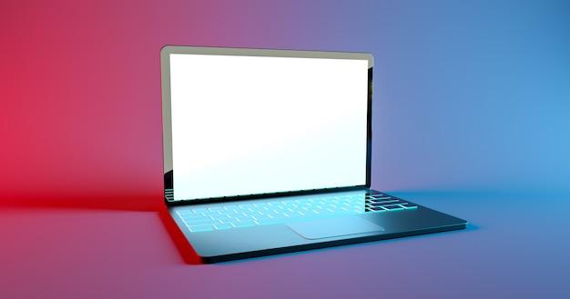 Makieta laptopa do gier z kolorową podświetlaną klawiaturą renderującą d