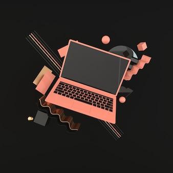 Makieta laptopa i różnych obiektów geometrycznych w nowoczesnym minimalistycznym stylu.