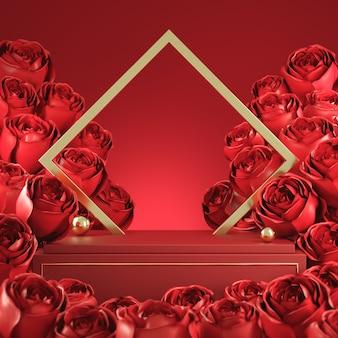 Makieta luksusowy valentine czerwony wyświetlacz z bukietem róża i złota rama koncepcja abstrakcyjne tło renderowanie 3d