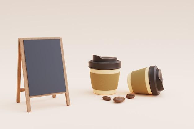 Makieta menu kawiarni z papierowym kubkiem i fasolą