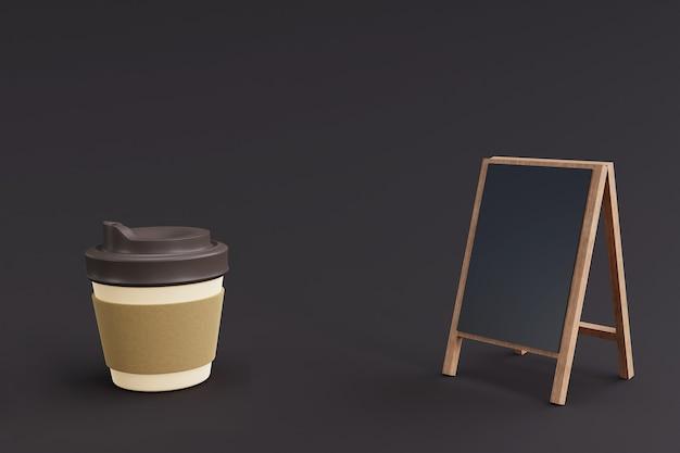 Makieta menu kawiarni z papierowym kubkiem