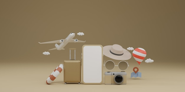 Makieta mobilna na białym ekranie z samolotem, balonem, gumowym pierścieniem do pływania, bagażem, okularami przeciwsłonecznymi, kapeluszem i aparatem
