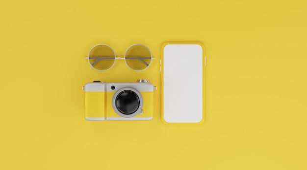 Makieta mobilna z białym ekranem, aparat i okulary przeciwsłoneczne na żółtym tle koncepcja podróży. renderowanie 3d