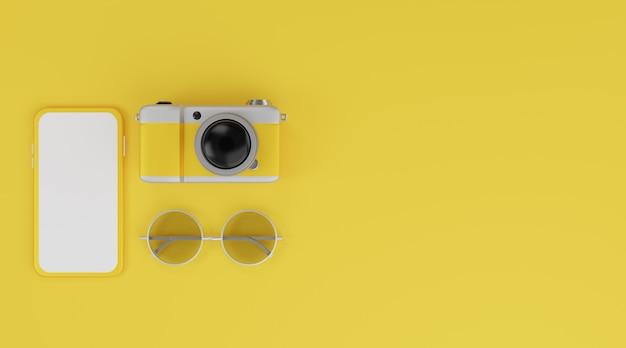 Makieta mobilna z białym ekranem, aparat i okulary przeciwsłoneczne