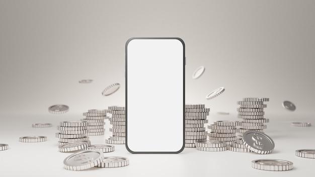 Makieta mobilna z białym ekranem ze stosem srebrnych monet na białym tle.
