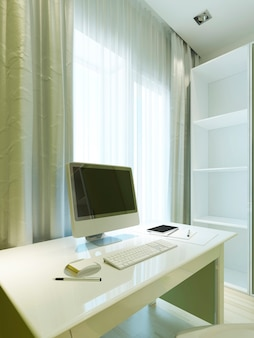 Makieta monitora na białym stole z akcesoriami biurowymi i wystrojem. pokój w stylu współczesnym. renderowania 3d.