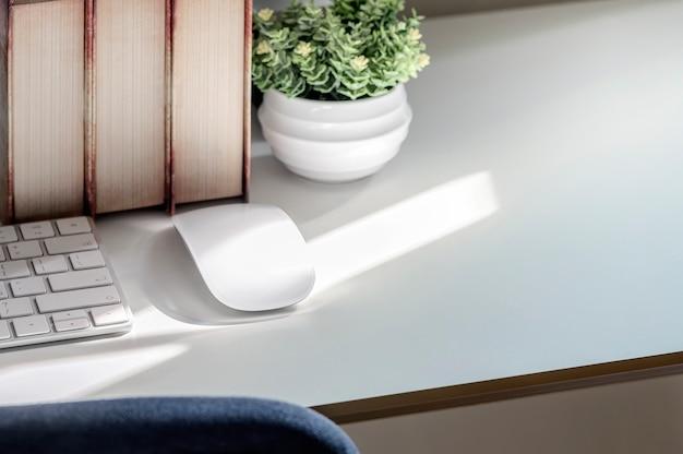 Makieta myszy komputerowej i klawiatury z rośliny doniczkowej i książek na białym stole.