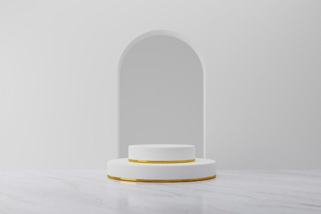 Makieta na podium z białym produktem na tle złotego pierścienia