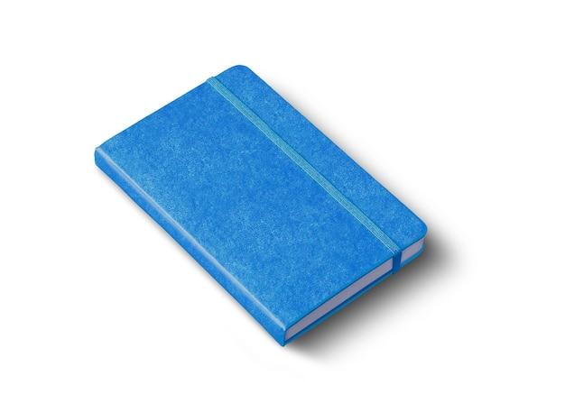 Makieta niebieski notatnik zamknięty na białym tle na białej powierzchni