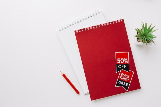 Makieta notesów czarny piątek z miejsca kopiowania