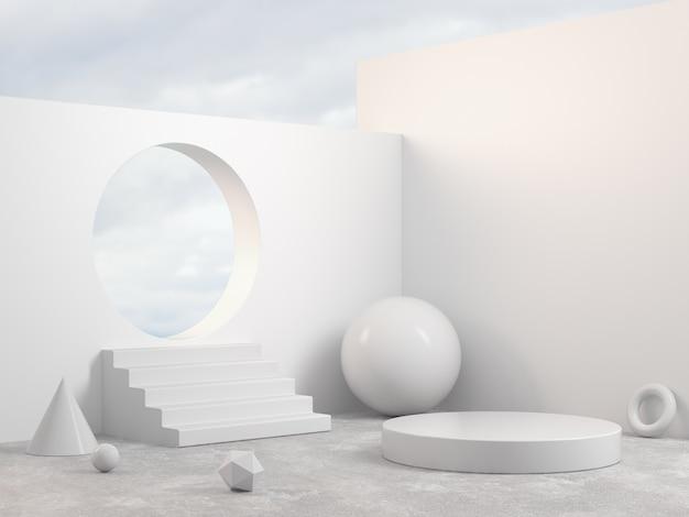 Makieta nowoczesna biała scena podium z prymitywną geometrią kształt obiektu abstrakcyjne tło renderowania 3d