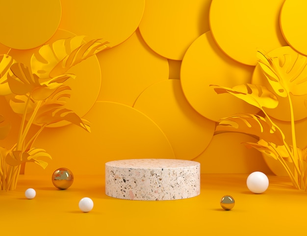 Makieta nowoczesny minimalny wyświetlacz z żółtym streszczenie i monstera rośliny renderowania 3d