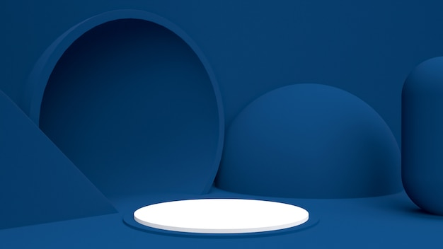 Makieta obiektu renderowanego w 3d, abstrakcyjny kształt i geometria w kolorze niebieskim, czerwonym i białym.