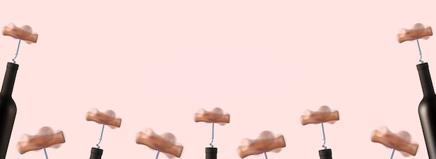 Makieta obracających się korkociągów otwierających butelki wina, puste na reklamę wina, obraz panoramiczny.