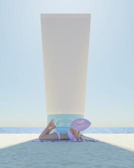 Makieta olbrzymiego pojemnika z filtrem przeciwsłonecznym cieniującej kobiety leżącej na plaży