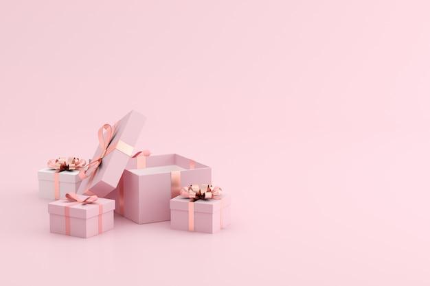 Makieta otwartego pudełka na różową przestrzeń.