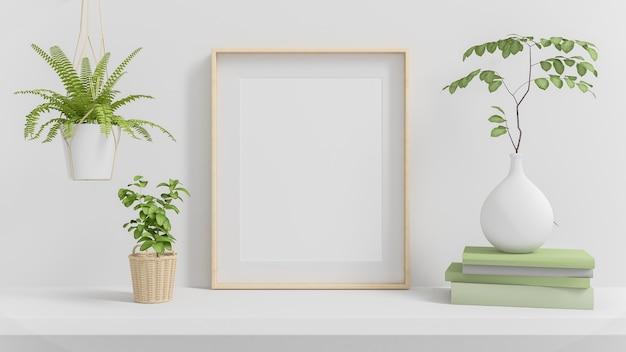 Makieta pionowej drewnianej ramy z zielonymi roślinami na minimalnym renderowaniu 3d białej przestrzeni