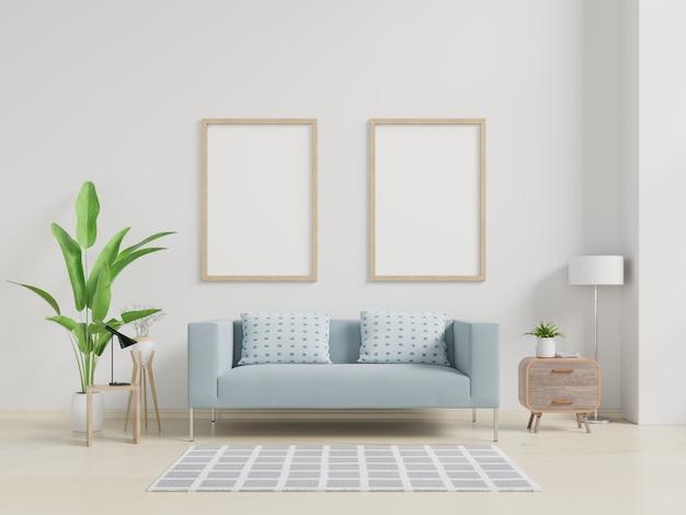 Makieta plakat wnętrz z pionowej pustej drewnianej ramie stojącej na drewnianej podłodze z sofą i szafką.