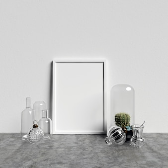 Makieta plakatowa z dekoracjami szklanymi