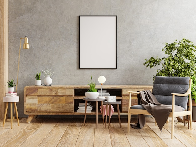 Makieta plakatowa z pionową ramą na pustej ciemnej betonowej ścianie we wnętrzu salonu z fotelem. renderowanie 3d
