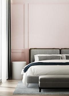 Makieta plakatu na różowej ścianie z przytulną sypialnią, różowym wzorem na ścianie, renderowaniem 3d, ilustracją 3d