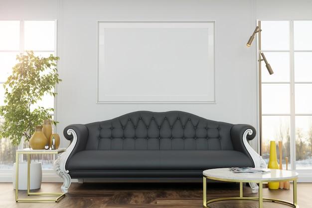 Makieta plakatu w eleganckim salonie w stylowym mieszkaniu.