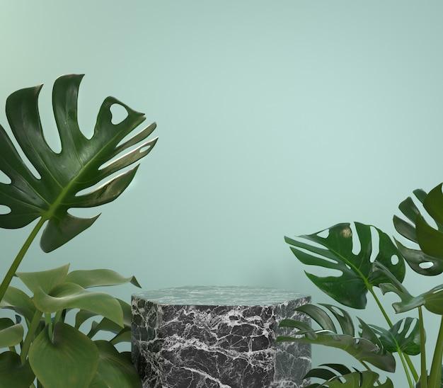 Makieta podium z czarnego marmuru z roślinami monstera tropic na tle mięty renderowania 3d