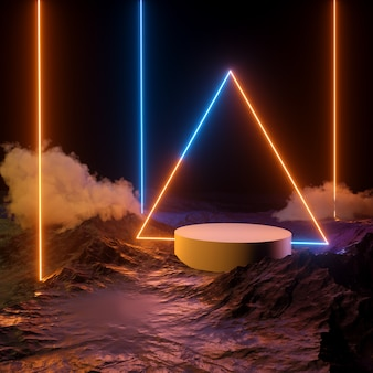 Makieta podium z trójkątnym niebieskim pomarańczowym światłem laserowym i pionowymi liniami neonowymi z dymem