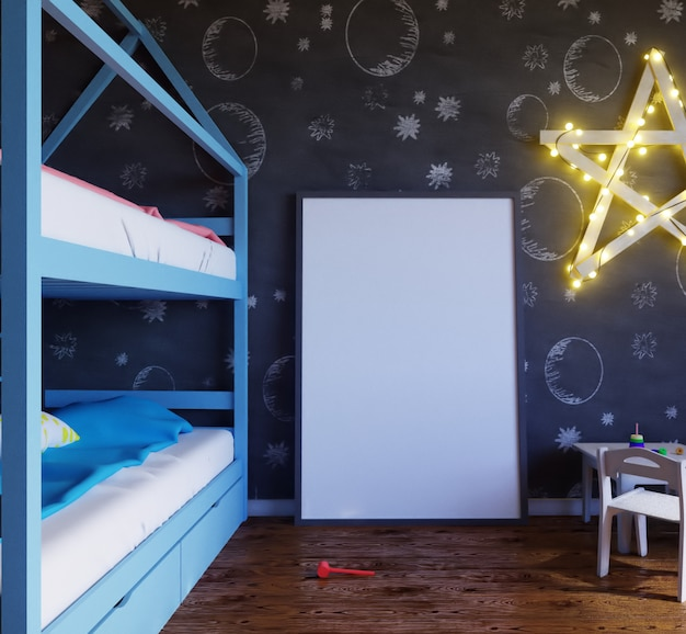 Makieta pokoju dziecięcego plakat z kolorowymi żarówkami.