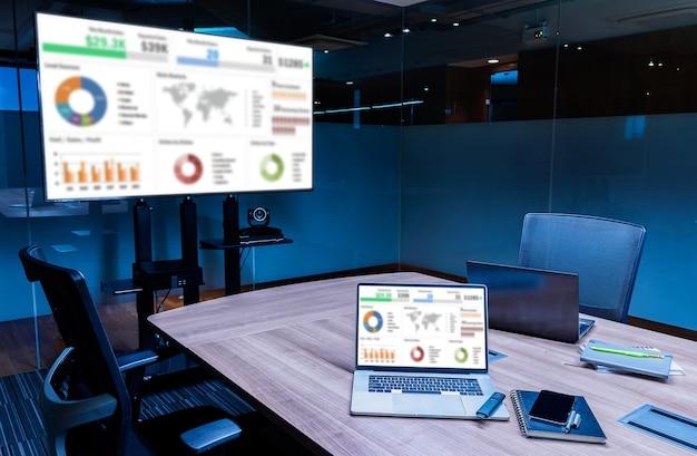 Makieta prezentacji podsumowania sprzedaży pokazu slajdów na ekranie telewizora i laptopa z notebookiem na stole w sali konferencyjnej