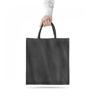 Makieta projekt puste czarna bawełniana torba eco na białym tle