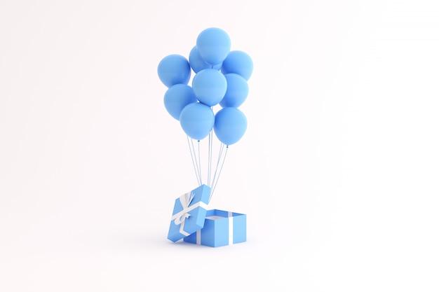Makieta pudełka i balonów na białej przestrzeni.