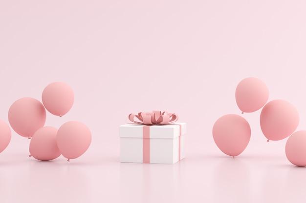 Makieta pudełka i balonów na różowej przestrzeni.