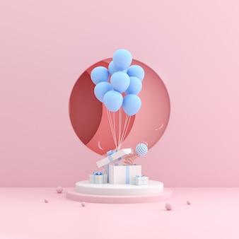 Makieta pudełka i balonów.