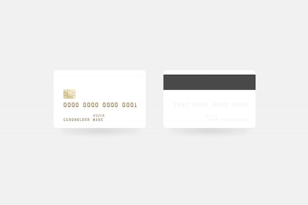 Makieta pusta biała karta kredytowa